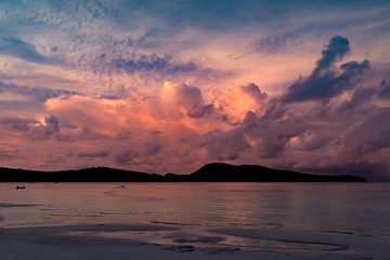 Sunset at the Koh Rong Samloem island, Saracen bay. Cambodia, Asia.
