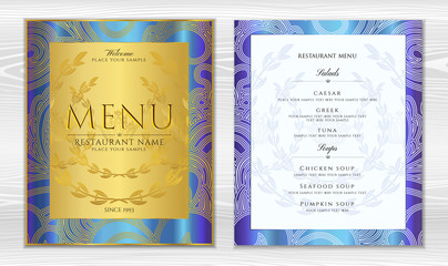 Design Restaurant Menu template in black color with gold frame pattern (border). Elegant luxe gold cover useful for Cafe Menu, brochure, coffee house, wedding invitation design