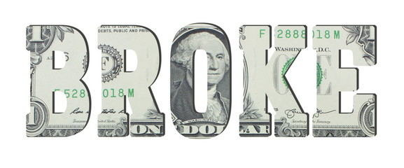 broke. American dollar banknotes. Background with money