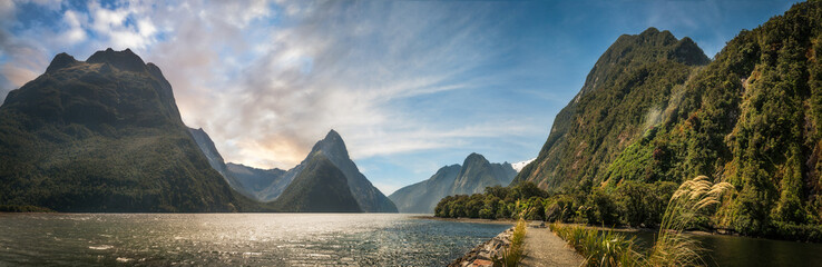 Milford Sound Panorama at golden hour
