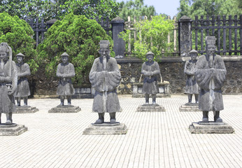 Stone statues of people in Minh Mang Tomb, Hue, Vietnam