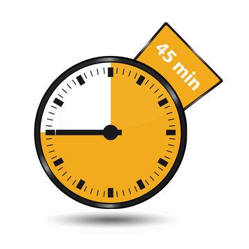 Timer 45 Minuten - Vektor Illustration - Freigestellt auf weißem Hintergrund