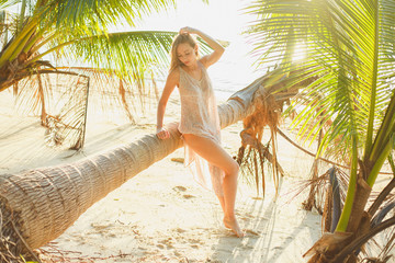 attractive seductive woman posing near fallen palm tree on ocean beach