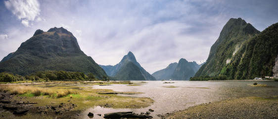 The Entry to the Fiord at Milford Sound, New Zealand, South Island