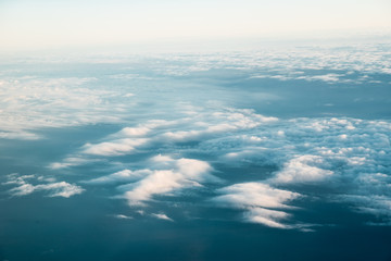Clouds on the blue sky. Wallpaper, edit space.