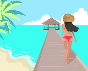 Vector illustration. Girl on the beach. Summer moment.