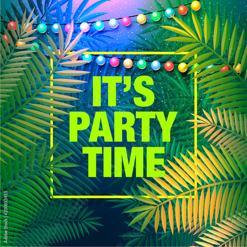 Summer Party Poster Decorative Holiday Lights For A Beach Inspiration Card Wedding