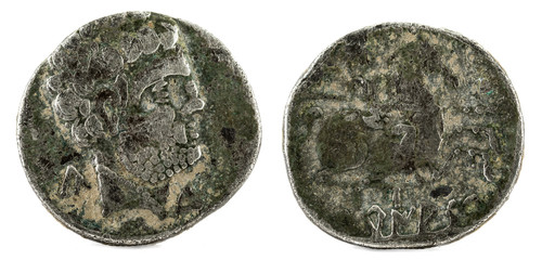 Silver coin. Ancient Turiaso Iberian Spain silver denarius.