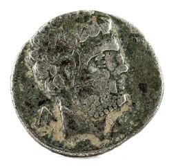 Silver coin. Ancient Turiaso Iberian Spain silver denarius. Obverse.