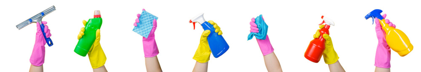Cleaning concept - hands holding supplies, isolated