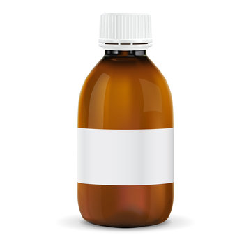 Brown plastic bottle with blank paper tag