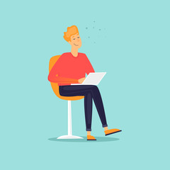 Man is sitting with a laptop. Flat design vector illustration.