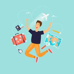 Vacation, travel, adventure, satisfied people. Flat design vector illustration.