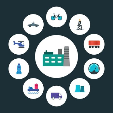 transports, industry Infographic Circle flat Icons Set. Contains such Icons as  rig,  construction,  manufacturing,  meter,  energy, bicycle,  aviation, air and more. ..Fully Editable. Pixel Perfect..