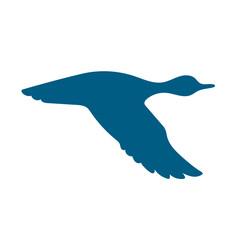 vector silhouette flying duck