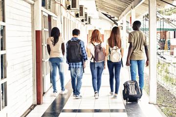 Multi ethnic teenagers friends walking in the school hallway, back view