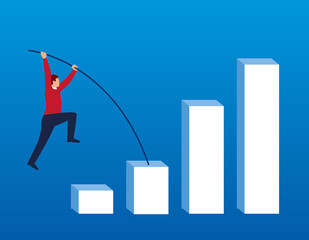Businessman doing pole vault on bar chart
