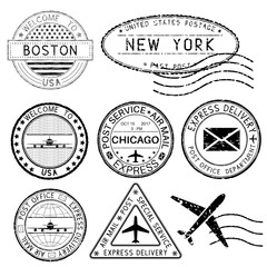Postmarks and travel stamps. USA cities