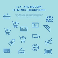 shopping outline vector icons and elements background concept on blue background...Multipurpose use on websites, presentations, brochures and more
