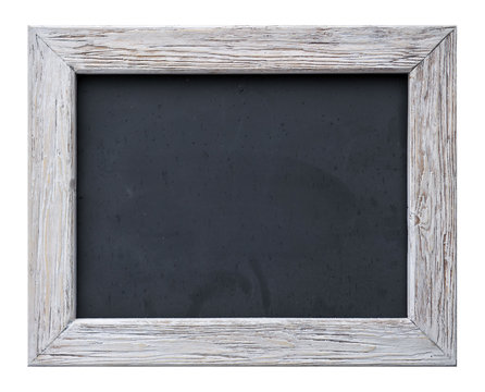 Slate, frame for pictures and photos made of wood in rustic style (on white background).