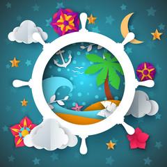 Island illustration. Cartoon paper landscape. Palm, sea, water, anchor moon flower Vector eps 10