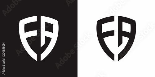 letter f a and shield logo vector template stock image and royalty