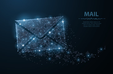 Message. Polygonal wireframe mesh with dots and stars. Mail, Letter, email or other concept illustration or background