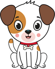Vector illustration of a cute dog with black outline