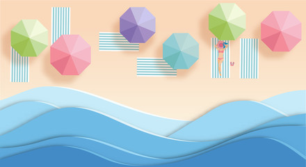 top view beach  with girl and umbrellas. aerial view of summer beach in paper art style.paper cut and candy color style.