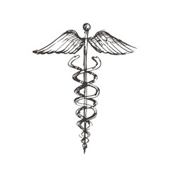 Hand drawn winged Caduceus symbol. Pharmacology and healthcare idea emblems.