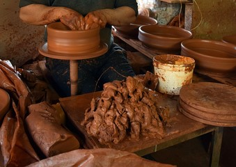 "Pottery items. The subject of fine art in the village Karacasu Aydin Province in the Aegean region of Turkey. Formerly known as ""Yenisehir"""