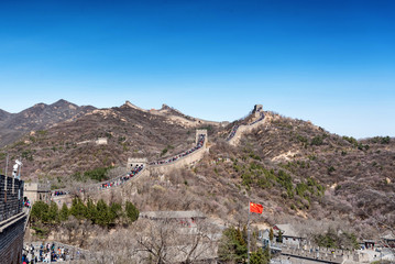 Scene at the Great Wall of China at Badaling on a clear day