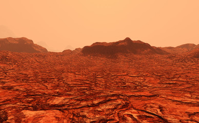 Photo sur Aluminium Rouge traffic 3D Rendering Planet Mars Lanscape