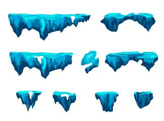 Game Platforms set, Ice, Illustration isolated on white background