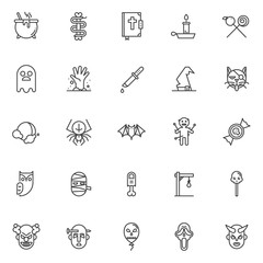 Halloween costume outline icons set. linear style symbols collection, line signs pack. vector graphics. Set includes icons as cauldron, snake with bone, bible, ghost, zombie hand, witch hat, black cat