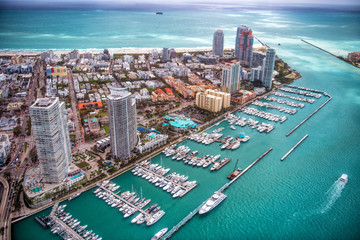 Aerial view of Miami Beach and South Pointe Park