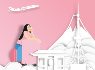 Travelling woman with suitcase on Japan background ,  paper cut style .candy color vector style.