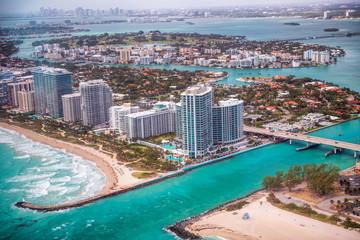 Wall Mural - Haulover Beach park aerial view, Miami
