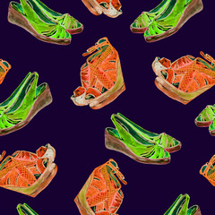 Orange bright neon color leather wedge shoes and green slingbacks shoes, hand painted watercolor illustration, seamless pattern on dark blue background