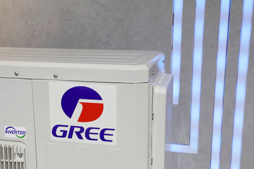 The logo of Chinese appliance manufacturer Gree is seen on a air conditioner at its booth during the China Import and Export Fair, also known as Canton Fair, in the southern city of Guangzhou