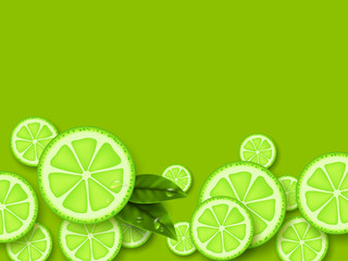 Lime green background. Sliced limes pieces with leaves and water drop. Vector illustration.