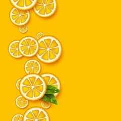 Orange fruits background. Sliced orange pieces with leaves and water drop. Vector illustration.