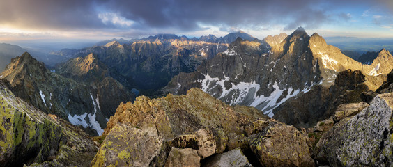 Mountain panorama from peak Rysy in High Tatras, Slovakia