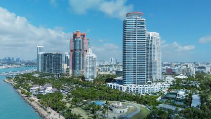Wall Mural - South Pointe Park in Miami Beach. Buildings along the beach, aerial view