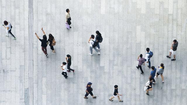 top aerial view crowd of people walking on business street pedestrian