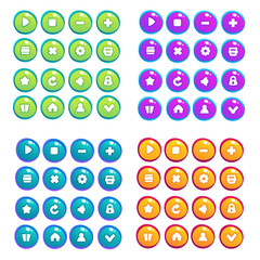Mobile Game UI, vector collection of icons, and buttons, cartoon style