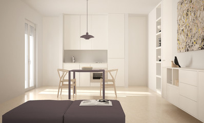 Minimalist modern bright kitchen with dining table and chairs, big windows, white and red architecture interior design