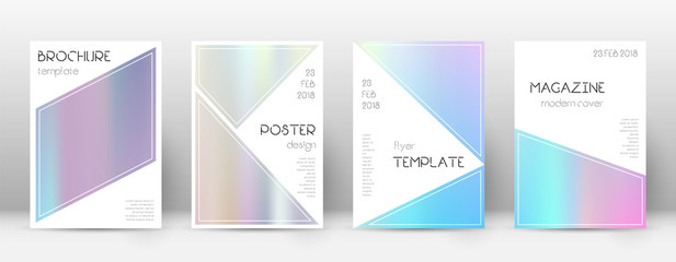 Flyer layout. Triangle awesome template for Brochure, Annual Report, Magazine, Poster, Corporate Presentation, Portfolio, Flyer. Bizarre pastel hologram cover page.