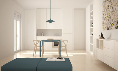 Minimalist modern bright kitchen with dining table and chairs, big windows, white and blue architecture interior design