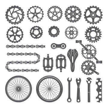 Gears, chains, wheels and other different parts of bicycle